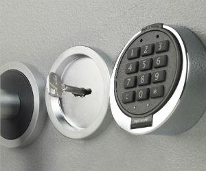 Doble cerradura de caja fuerte, electronica + llave